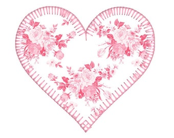 BUY 2, GET 1 FREE - Vintage Style Blanket Stitch Applique Heart Machine Embroidery Design in 3 Sizes - 4x4, 5x7, 6x10