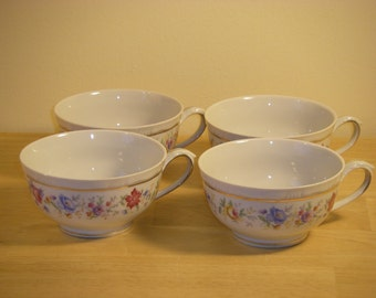 Bareuther Bavaria Germany US-Zone Floral/Gold Cups, Set of 4, Lot 2