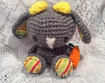 Crochet Easter Bunny, Crochet Grey Bunny, Grey Easter Bunny, Grey Plush Bunny