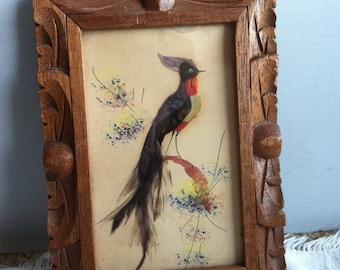 Vintage Mexican Framed Bird Art