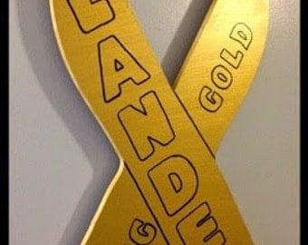 Wooden Childhood Cancer Awareness Ribbon Door/Wall Hanging