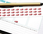 36 Small Firetruck Stickers! Perfect for your Erin Condren Life Planner, Filofax, Plum Paper & other planner or scrapbooking! #SQ00616