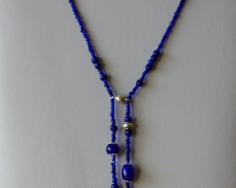 Heart necklace dark blue - Made in FRANCE