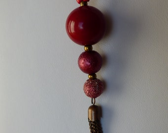 necklace red sphere - Made in FRANCE