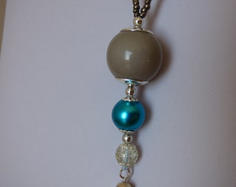 NECKLACE sphere blue gray - Made in FRANCE