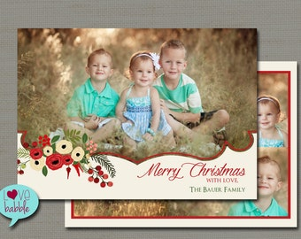 Christmas Holiday Photo Card, Religious, Christian, Multiple photos, PRINTABLE DIGITAL FILE - 5x7