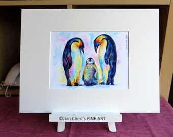 Small Mounted Print: penguins