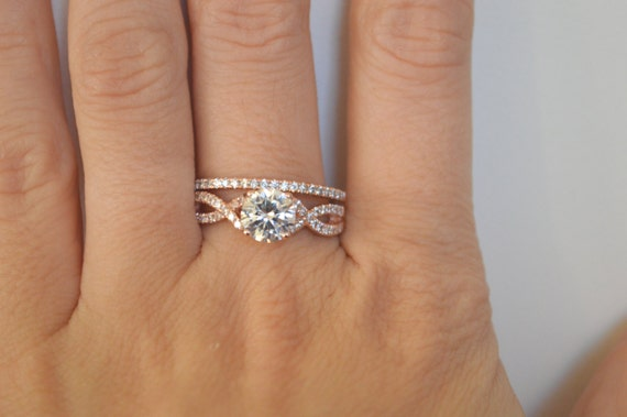 Twist Engagement Ring Setting Rose Gold Twisted Band By