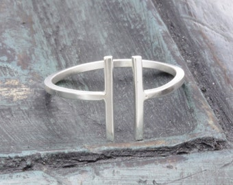 925 sterling silver open even double bar band ring , knuckle ring