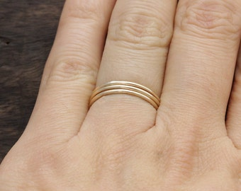 1 mm 3pcs 14 k gold filled smooth simple band rings ,