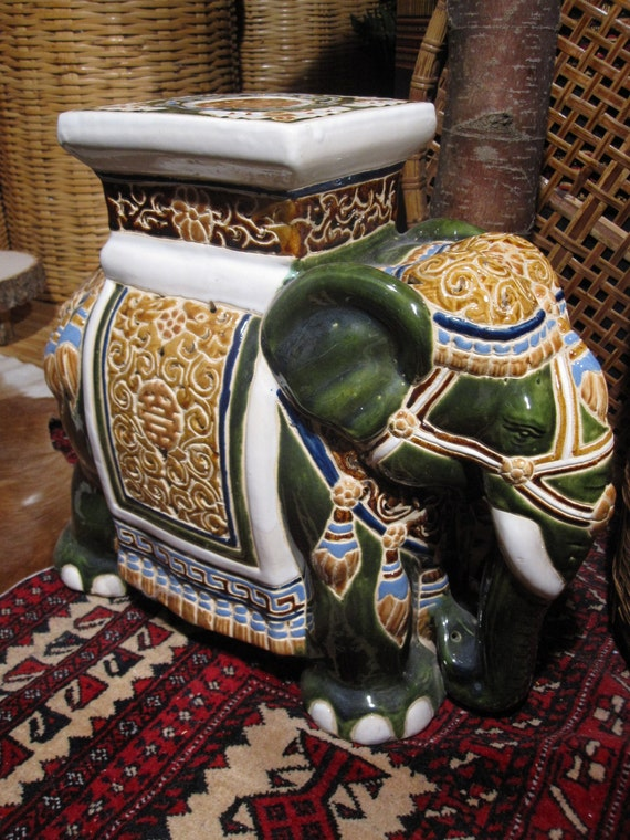 Vintage Vietnamese Ceramic Elephant Stool Plant Stand