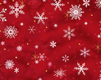 Quilting Treasures Liz Dillon Pomegranate Snowflakes woven