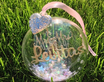 Mr & Mrs bridal wedding gift personalised bespoke bauble with charm and swarovski crystals and one other sequin choice