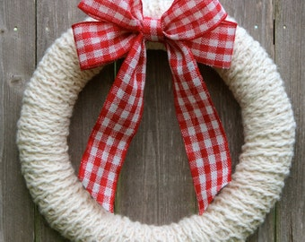 Ivory Knit Wreath with Red Plaid Bow, Hand Knitted Wreath