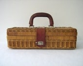 Antique Woven Carrying Case Basket with Hinged Top and Leather Handle