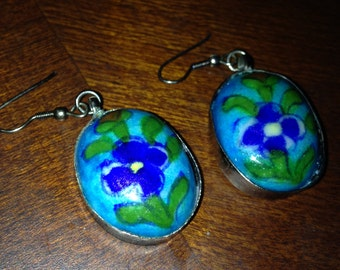 Pierced Glazed Clay Earrings