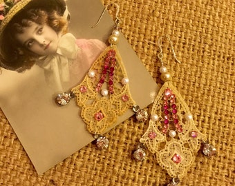Glamorous Repurposed Antique Lace Appliqué Earrings with Pink Swarovski Crystals and Pearl Beads