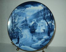 New England Winter Scene Collectible Plate by Artist Rob Sauber Peaceful Village 1980s Hamilton Collectible Plate Snowy Christmas Decor