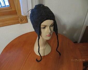 Black/GreyTweed Ear flap Hat