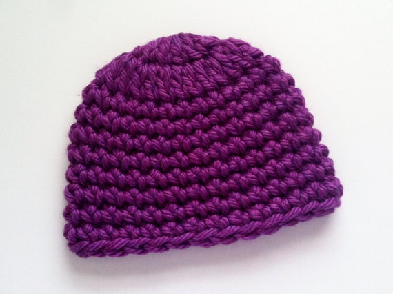 Crochet Baby Hat Pattern With Super Bulky Yarn : Purple Super Bulky Crocheted Hat Handmade Skull Caps Chunky