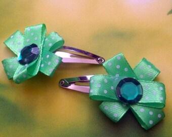 Pair of Green, Spotty Ribbon, Flower Hair Clips