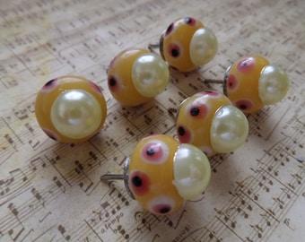 Glass big hole bead Push Pins - yellow - polka dots