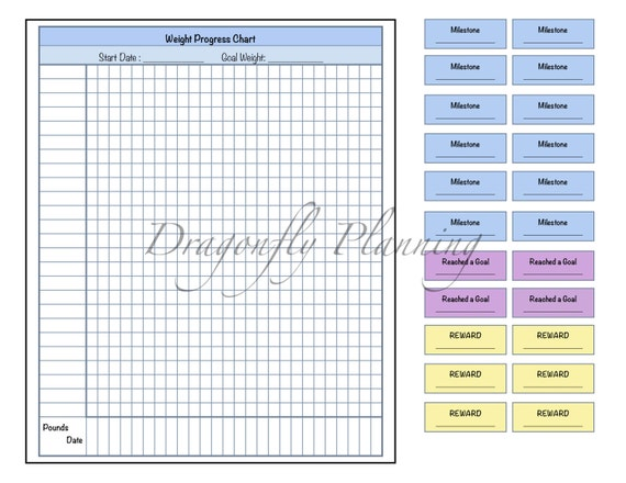 weight progress chart by dragonflyplanning on etsy