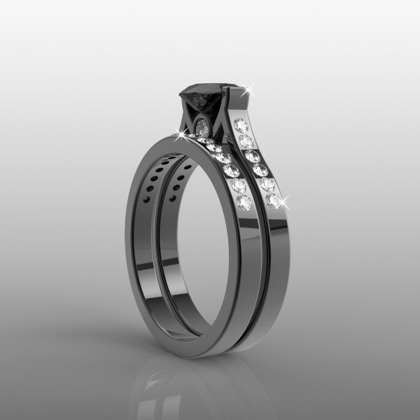 14k black gold engagement ring and wedding band set for her