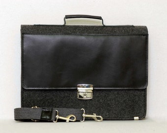 "FELT 15"" MACBOOK BRIEFCASE, dark felt leather case, genuine leather, felt laptop bag"