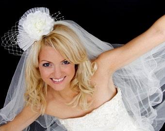 Bridal Fascinator, Headpiece. Birdcage veiling, pearl sprays.