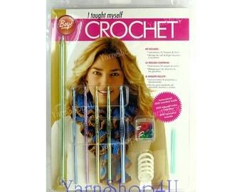 SALE! Learn to Crochet w/ DVD, Boye I taught myself Crochet, Boye crochet hooks, Learn how to crochet, crochet how to book, how to crochet