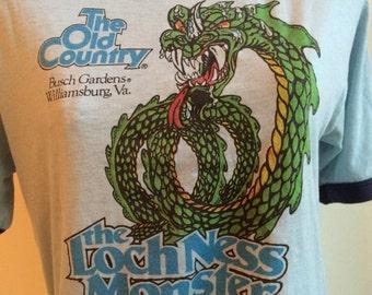 Very Rare Original Vintage Busch Gardens Williamsburg Gardens Loch Ness Monster ride tee Size Large