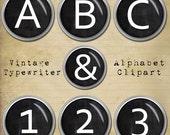 Old Typewriter Keys Alphabet Clipart, Black Typewriter Keys, Vintage Typewriter, Retro Printable Letters + Numbers + Punctuation
