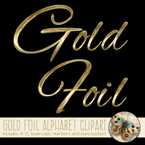 Alphabet Foil Silvers: Gold Foil Alphabet Clipart Gold Uppercase And Lowercase