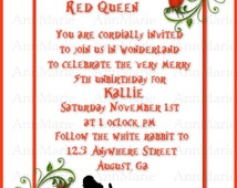 Alice In Wonderland Inspired Party invitation, Queen of Hearts Party invite, The Red Queen Invitation, Wonderland Un-Birthday party Invite