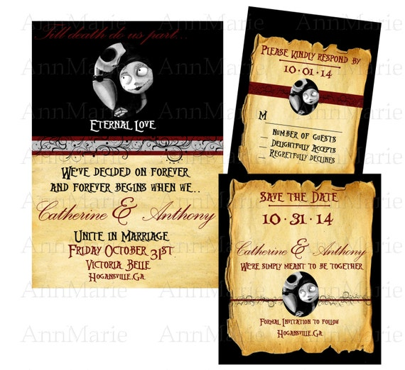 Nightmare Before Christmas Wedding Invitation template,Halloween ...