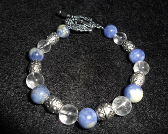 Healing Stone Bracelet-  Semi Precious Sodalite and Clear Quartz with Tibetan Silver beads - HEAL66
