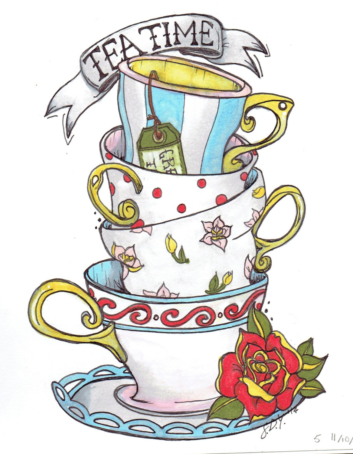 Alice In Wonderland Teacup Sketch on Shapes Coloring Pages Daily Com