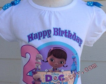 Doc Mcstuffins shirt, doc mcstuffins birthday shirt, doc mcstuffins personalized shirt, baby onesie doc mcstuffins, toddler shirt.