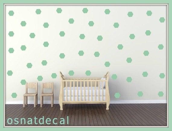 FREE SHIPING Wall Decal Hexagon Color Green.Each Kit 105.Wall Sticker. Nursery Wall Decal, Homedecor.  . Geometric Wall Decal.