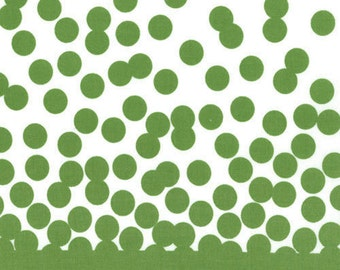 Green Dot Double Border Fabric, Moda Simply Color 10802 V & Co., Olive Green Dots Fabric, Quilt Fabric, Pillowcase Fabric, Cotton