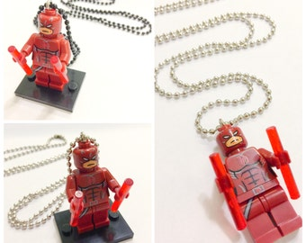 Lego® The DAREDEVIL Necklace, Lego Minifigurine Superhero Jewelry, BOGO Buy 1 Get 1 Lego Minifigure Necklace, Lego Party Favor Gift Giveaway