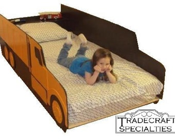 Items similar to construction bedding bulldozer toddler bed that coverts to twin size bed - Dump truck twin bed ...