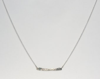 Sterling Silver Bar. Hammered Bar. Minimalist Jewelry. Sterling Silver Necklace