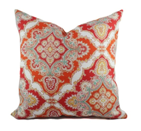 Orange outdoor pillows 18x18 Red outdoor pillow covers