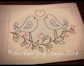 Love Birds Redwork Machine Embroidery Design - Instant Download