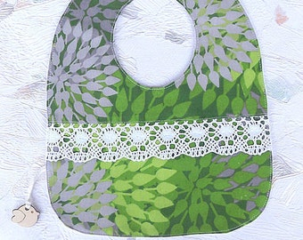 Green Baby Bib Flower Girl Bib Baby Bibs Lace Bib Baby Dribble Bib Drool Feeding Baby Shower Gift
