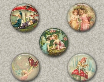Digital Fairies and Elves Collage Sheet Flower Fairies Images for Pendants Pocket Mirror,Magnets, Buttons. Cupcake Toppers