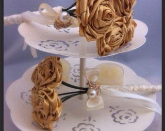 Flower girl wand, Flower-gril bouquet.  bridesmaid bouquet. Mini ribbon rose bouquet. Made to match your colour scheme