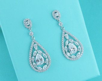 Bridal Earrings, Wedding Earrings, cubic zirconia earrings, cubic zirconia jewelry ,bridal jewelry, wedding earrings, 225726393